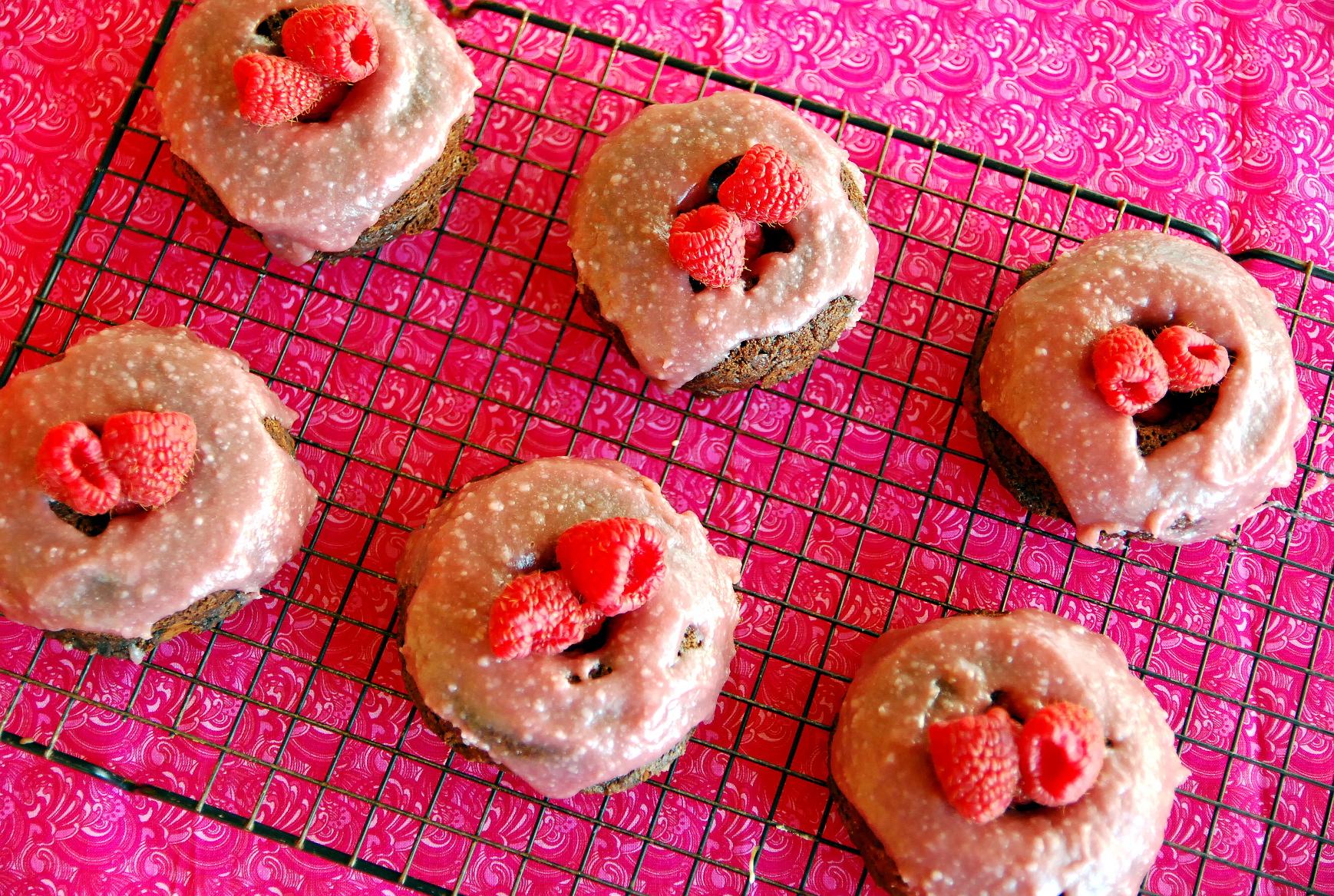 Chocolate Buttermilk Donuts with Raspberry Glaze