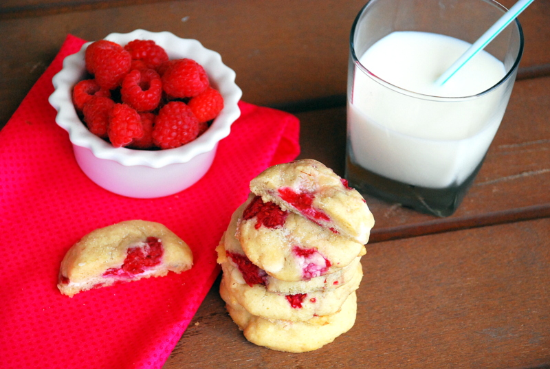 Cheesecake-Stuffed Raspberry White Chocolate Cookies