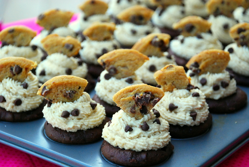 double chocolate cookie dough cupcakes