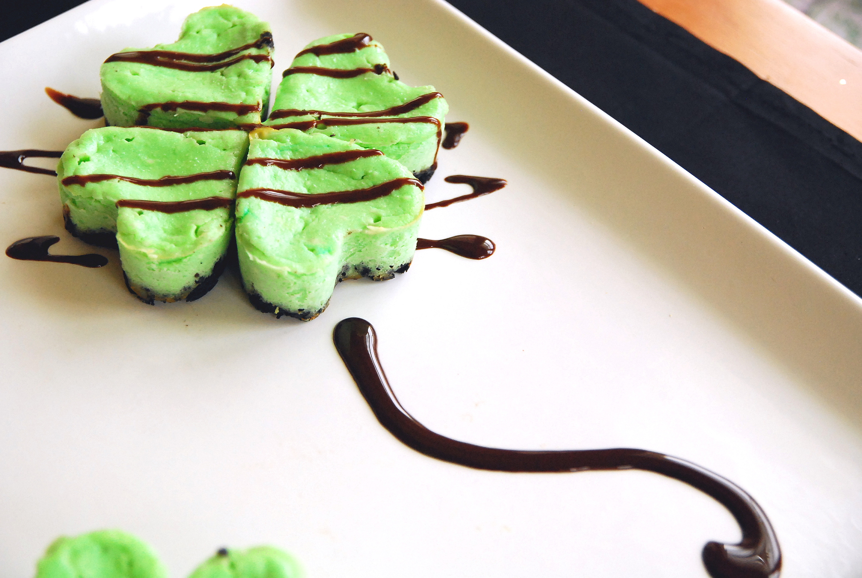 Shamrock Mini Mint Cheesecakes