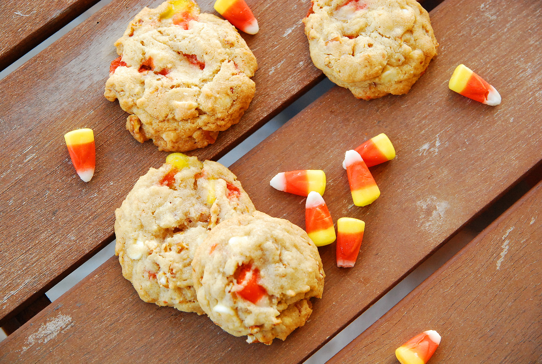 White Chocolate Candy Corn Pretzel Cookies